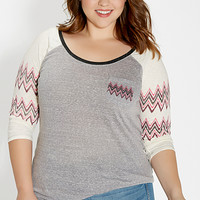 plus size heathered baseball tee with chevron stripes