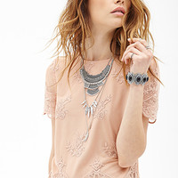 FOREVER 21 Floral Lace Top Taupe