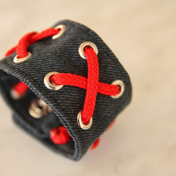 Jeans bracelet, dark grey, red