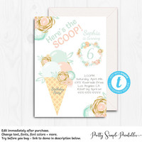 Ice Cream Birthday Invite, Here's the Scoop Invitation, Girl Birthday Invitations, 1st, 2nd, 3rd, 4th, 5th, 6th, Any Age, Editable, ICE1