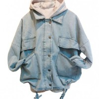 Light Blue Denim Coat with Detachable Hooded Tank