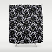 Black And Whte Floral Shower Curtain by kasseggs