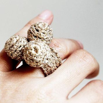 Golden Spheres Crochet Ring