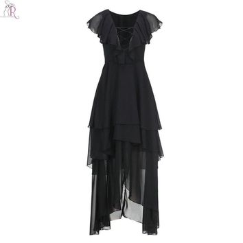 Black Ruffled Lace Up  Maxi Dress Asymmetric Sleeveless A Line Casual Party Deep V Neck Streetwear  Women Summer