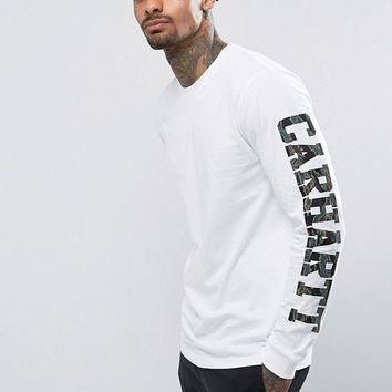 Carhartt WIP College Long Sleeve T-Shirt With Sleeve Print at asos.com