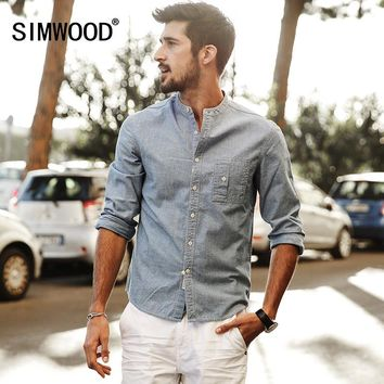 SIMWOOD Summer Long Sleeve Cotton and Linen Fabric Slim Fit shirt