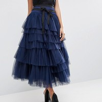 ASOS Tulle Midi Skirt with Tiers and Tie Waist at asos.com