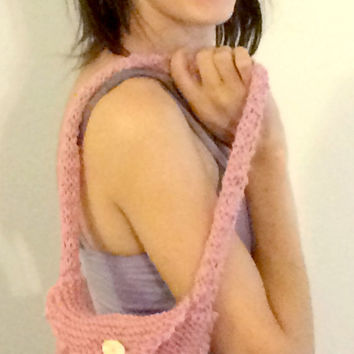 Hand Knitted Shoulder Bag - Pink Knitted Purse With Button Clasp - Dusty Rose iPad Carrier Handbag - Handmade Knitted Tablet Carrier