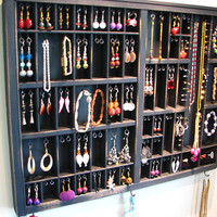 Printers Typeset Tray Jewelry Display with stud slots and 2 ring cubbys