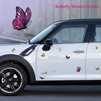 Butterfly Car Body Scratch Covers Ladybug Car Stickers and Decals Car Styling Auto Motorcycle Fuel Tank Cap Sticker Decoration