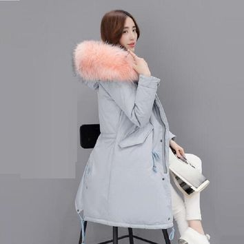 New Fashion Thick Warm Winter Jacket Women Large Fur Collars Parka Down Cotton Jacket Snow Wear Lady Clothing Female Jackets