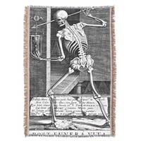 Vintage Skeleton with Hourglass Throw
