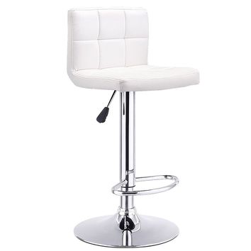 Bar Stool Swivel Adjustable PU Leather Barstools Bistro Pub Chair-White