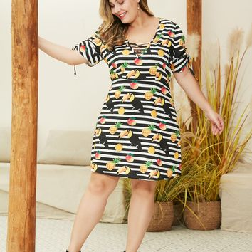 Plus Drawstring Cuff Striped Bird And Fruit Print Dress