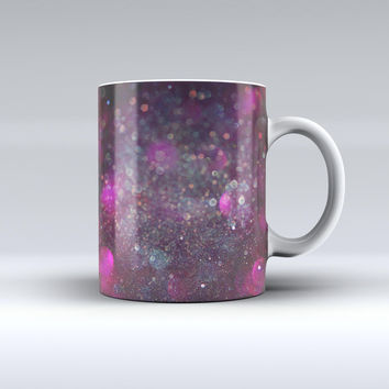 The Purple and Pink Unfocused Glowing Light Orbs ink-Fuzed Ceramic Coffee Mug