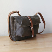 Small Satchel in Waxed Canvas and Leather by infusion on Etsy