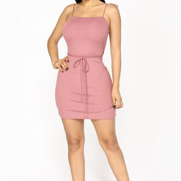 Roped In Ribbed Dress - Mauve