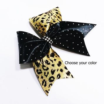 Cheer hair bow, gold cheer bow, rhinestone cheer bow, leopard cheer bow, cheerleader bow, cheerleading bow, cheer bows, softball bow, bow