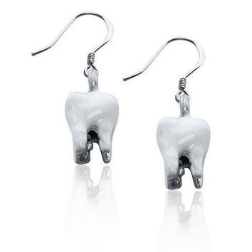 Tooth Charm Earrings in Silver