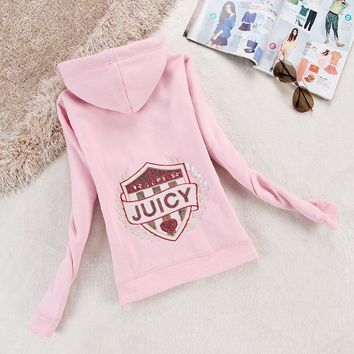 Juicy Couture Logo Sequin Velour Jacket 2199 Women Hoody Pink - Ready Stock