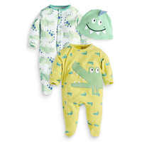 3Pcs/Set Cute Animal Newborn Clothing Baby Rompers + Hat Cotton Baby Boy Girl Clothes Set Jumpsuit Roupas Pajama Sets 0-24M