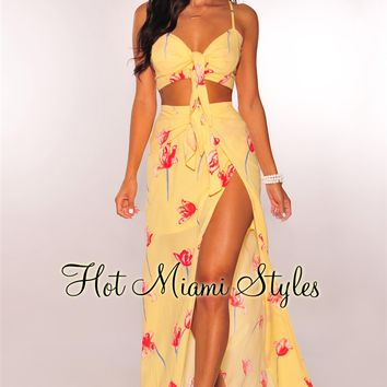 Yellow Red Floral Tie Up Slit Maxi Two Piece Set
