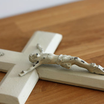 French big white wooden crucifix / Religious cross // Jesus Christ