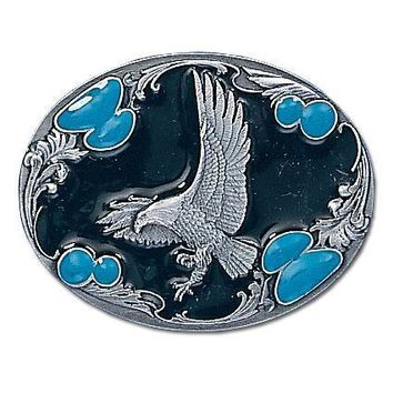 Sports Accessories - Landing Eagle Silhouette Enameled Belt Buckle