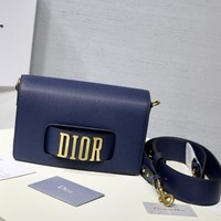 Dior Women Shopping Leather Crossbody Satchel Shoulder Bag Blue