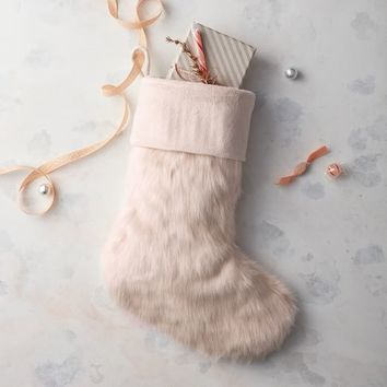Faux Fur Stocking - Blush