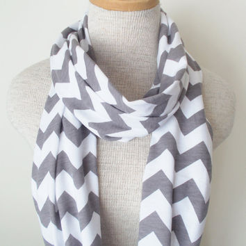 Chevron Infinity Scarf - Jersey Knit - Grey and White
