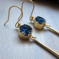 We Are All Made of Stars Earrings,Blue Druzy Earrings,Midnight Blue druzy earrings,Blue Druzy Gold Earring,Gold spike earring,Geode Earrings