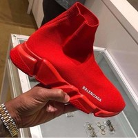 Balenciaga 2018 trendy men and women fashion leisure wild sneakers Red