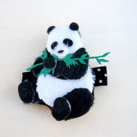 Hair Accessories, Black and White Panda Bear Hair Clip, Animal Clippie, Baby Girl Hair Clip