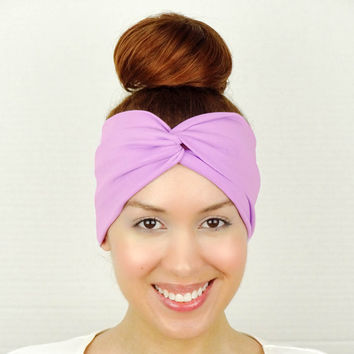 Twist Headband Women's Accessories Lilac Turban Headband Lavender Turban Head Wrap Women Turban Lilac Wide Headband Lilac Yoga Headband
