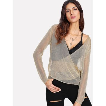 Metallic Crossover See-Through Top