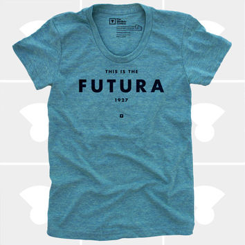 Futura Women's TShirt, Tee Shirt, Womens Top, S,M,L,XL, Graphic Design, Type, Typography, Green Shirt (4 Colors) TShirt for Women