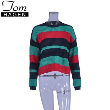 New Autumn Winter Fashion Green Striped Sweater Women Knitted Loose Pullover Sexy Jumper Long Sleeve Female Patchwork Sweater