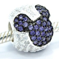 "Pro Jewelry .925 Sterling Silver ""Jeweled Mickey - Purple and Clear Cz"" Charm Bead for Snake Chain Charm Bracelets"