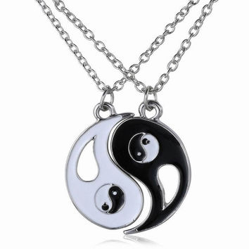 Traditional Chinese Taichi Pendant Couples Necklace BEST FRIENDS Jewelry BBF Necklace 2pcs (Color: Black white)