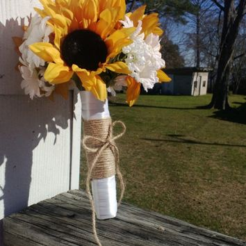 Sunflower Bouquet, Sunflower Wedding Bouquet, Rustic Wedding, Yellow Sunflower Bouquet, Sunflower Bridal Bouquet Fall Bouquet Fall Wedding