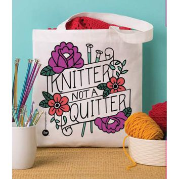"Knit Not Quit Boye Tote Bag 13.5""X13.75"""