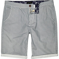 River Island MensEcru vertical stripe chino shorts