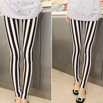 Womens Cool Casual Stripe Print Leggings
