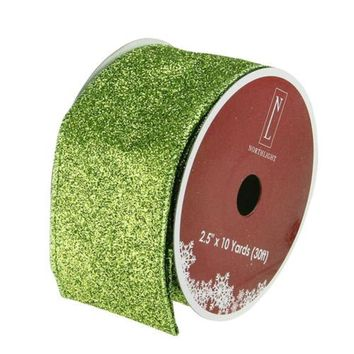 "Shimmering Lime Green Solid Wired Christmas Craft Ribbon 2.5"" x 10 Yards"