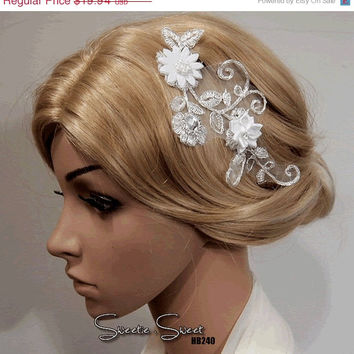 SALE 40% OFF Bridal Head piece, Bridal Hair Comb, Wedding Hair Comb, bridal Fascinator, Bridal Hair Clip, Wedding Fascinator, Ivory lace flo