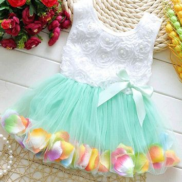 Toddler Kids Dot Bowknot Tutu Dress Baby Girls Flower Bubble Gown One-piece