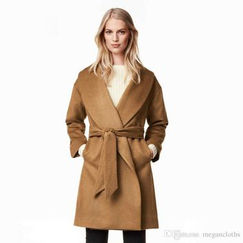 2017 Winter New Fashion Warm Midi LongTrench Coat OL Turn Down Collar Loose Blet Coat Casual Chic Women Outwears