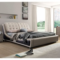 Queen size Light Brown Tan Faux Leather Upholstered Bed with Headboard