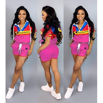 Champion Newest Popular Woman Personality Print Short Sleeve Hoodie Top Shorts Set Two Piece Rose Red